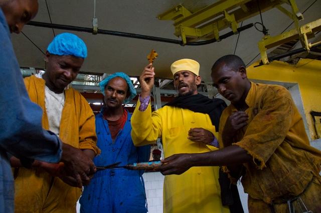 Les égorgeurs sont choisis par un prêtre orthodoxe. Ils doivent avoir une conduite religieuse exemplaire. Avant d'égorger la bête, les instruments doivent être bénis ©A.G.